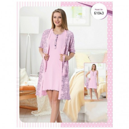 Женский комплект из хлопка халат на запах и сорочка