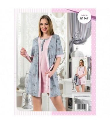 Комплект халат на запах с ночной сорочкой, для беременных и кормящих мам