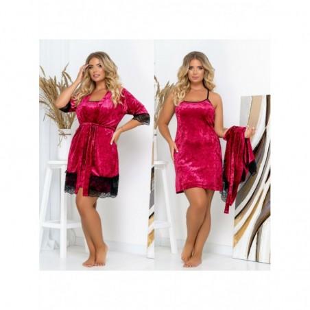 Женский комплект для сна ночная сорочка и халат из велюра