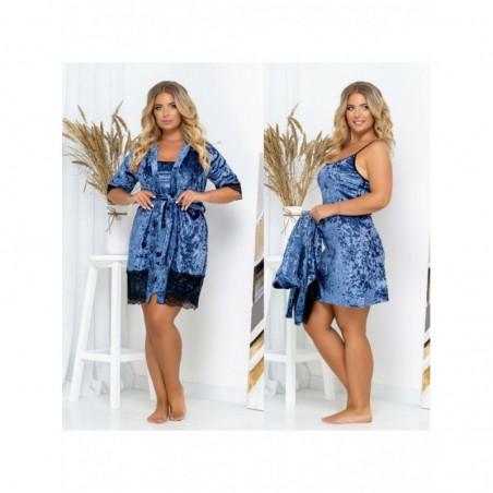 Женский велюровый комплект ночная рубашка и халат с кружевом