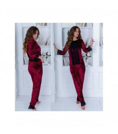 Женский бархатный комплект-костюм с кружевом