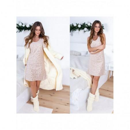 Женский комплект халат махровый и ночная сорочка