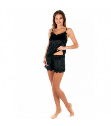 Женская велюровая пижама с кружевом чёрного цвета