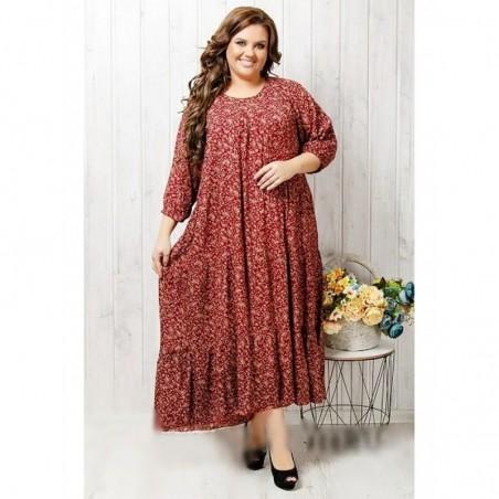 Женское штапельное длинное платье с рукавом