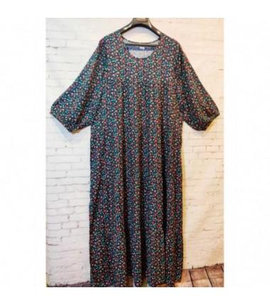 Женское длинное штапельное платье темного цвета