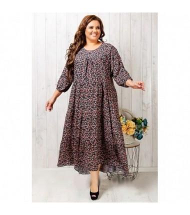 Женское длинное летнее платье принт цветы