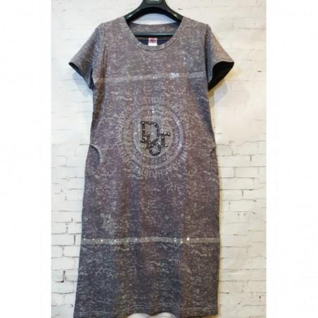 Женское платье серого цвета принт Dior