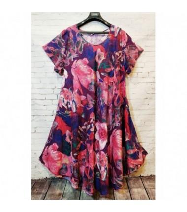 Женское яркое платье средней длины