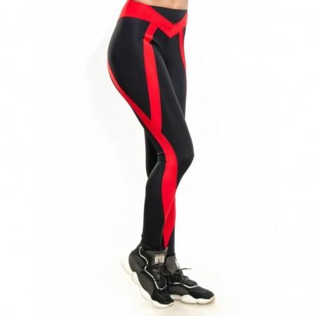 Женские спортивные лосины с красными вставками