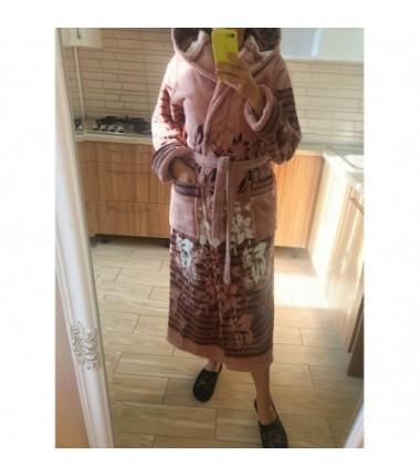 Длинный женский махровый халат на запах с капюшоном