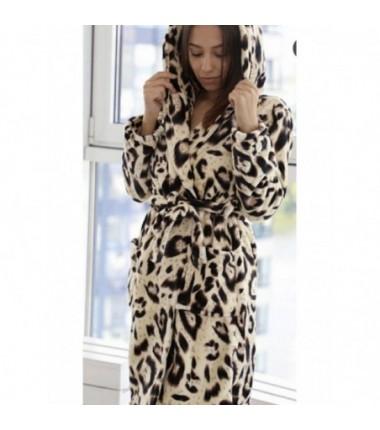 Женский леопардовый халат на запах с капюшоном