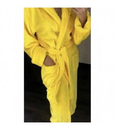 Длинный женский халат на запах из полированной махры