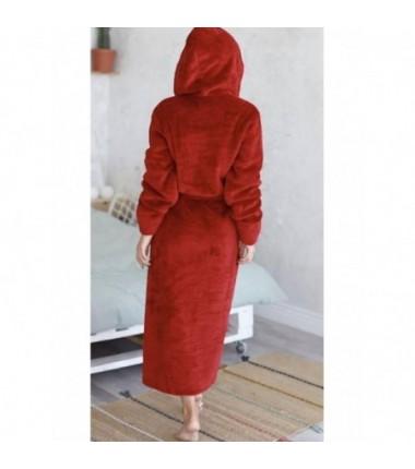 Красный махровый халат на запах для женщин