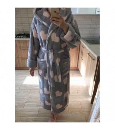 Женский махровый халат на запах с капюшоном и белыми сердечками