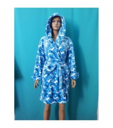 Синий махровый халат на запах с белыми оленями