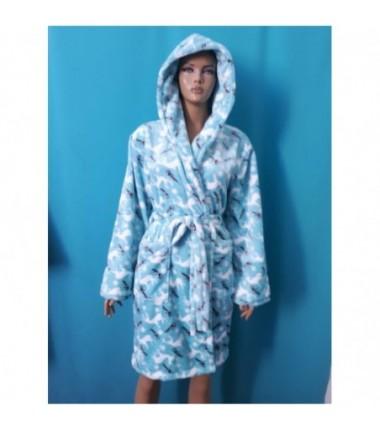 Голубой махровый халат с белыми оленями