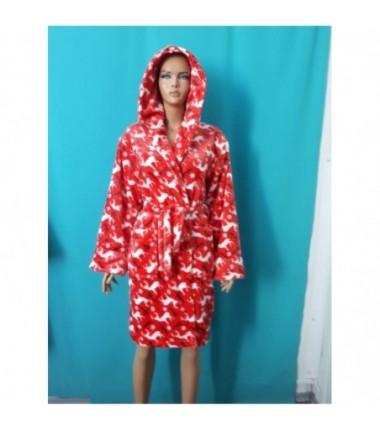 Женский махровый халат с оленями