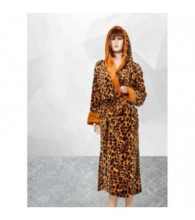 Женский махровый халат леопардовый с капюшоном