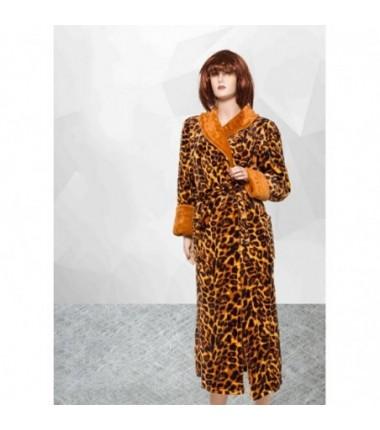Женский махровый длинный халат леопардовый больших размеров
