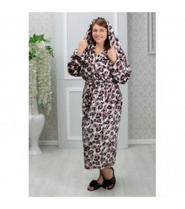 Женский махровый халат принт леопард