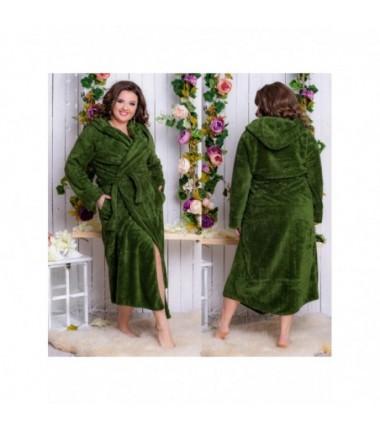 Тёплый махровый халат на запах с капюшоном
