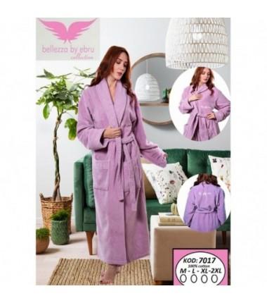 Женский махровый халат на запах лилового цвета