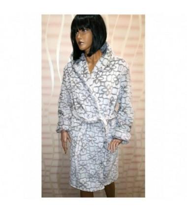 Тёплый женский халат на запах шиншилла